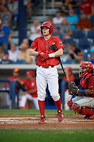 Williamsport Crosscutters third baseman Jake Holmes (17) at bat during a game against the Mahoning Valley Scrappers on August 28, 2018 at BB&T Ballpark in Williamsport, Pennsylvania.  Williamsport defeated Mahoning Valley 8-0.  (Mike Janes/Four Seam Images)