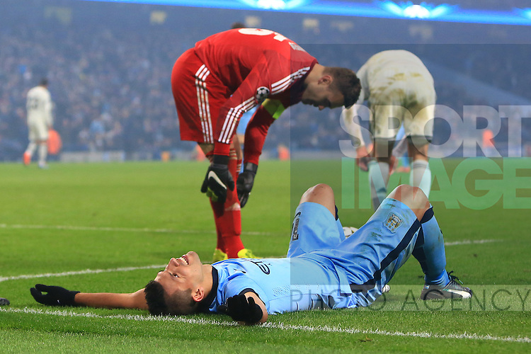 Sergio Aguero of Manchester City goes down in the area but is booked for diving - Manchester City vs. CSKA Moscow - UEFA Champions League - Etihad Stadium - Manchester - 05/11/2014 Pic Philip Oldham/Sportimage