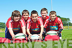 TRAINING: In training at the Munster Rugby School summer camp at Tralee Rugby Club, on Thursday, were L-r: Luke Barrett (Firies), Sean Higgins (Fenit), Tom Hoare (Tralee), Jack O'Sullivan (Castlemaine) and Alex Crocker (Camp)...