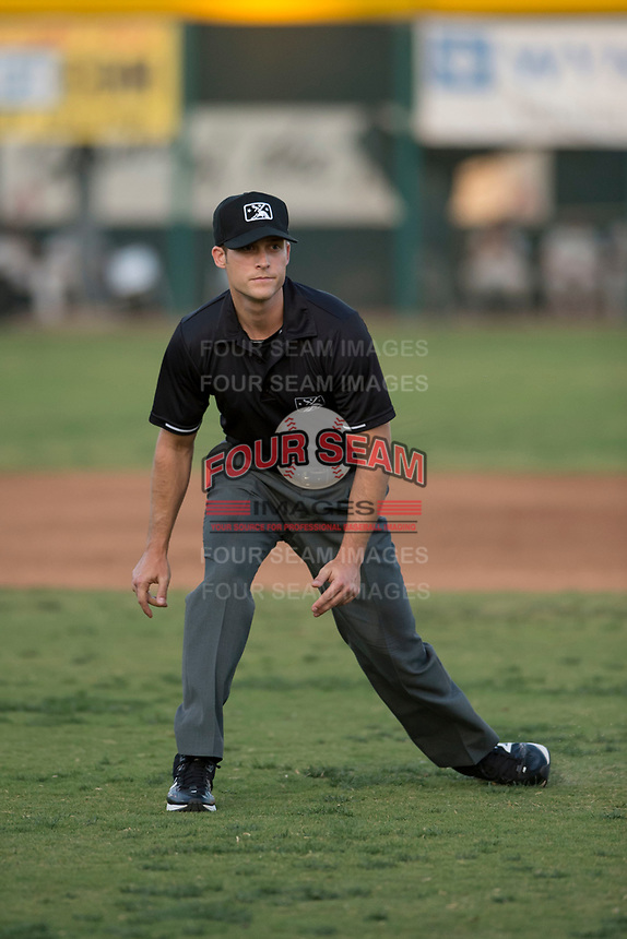 Field umpire Darius Ghani during a game California League game between the Visalia Rawhide and the Stockton Ports at Visalia Recreation Ballpark on May 8, 2018 in Visalia, California. Stockton defeated Visalia 6-2. (Zachary Lucy/Four Seam Images)
