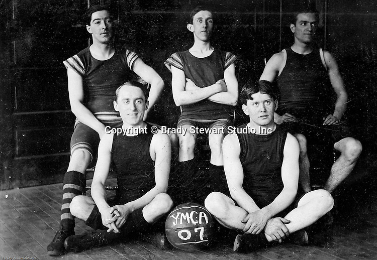 Pittsburgh PA:  View of Brady Stewart (top right) and other members of the McKeesport YMCA Basketball team - 1907