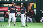 (L to R) .Shinnosuke Abe (JPN), .Hirokazu Ibata (JPN), .MARCH 6, 2013 - WBC : .2013 World Baseball Classic .1st Round Pool A .between Japan 3-6 Cuba .at Yafuoku Dome, Fukuoka, Japan. .(Photo by YUTAKA/AFLO SPORT) [1040]