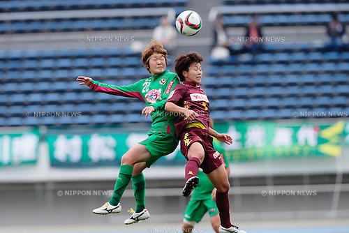 (L to R) <br /> Mizuho Sakaguchi (Beleza), <br /> Ikadai Risa (Jef Ladies), <br /> OCTOBER 31, 2015 - Football / Soccer : <br /> Plenus Nadeshiko League 2015 <br /> between NTV Beleza 2-0 Jef Chiba Ladies <br /> at Komazawa Olympic Park Stadium, Tokyo, Japan. <br /> (Photo by AFLO SPORT)