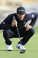 Dustin Johnson (USA) on the 18th green during Saturday's Round 3 of the 2018 AT&amp;T Pebble Beach Pro-Am, held over 3 courses Pebble Beach, Spyglass Hill and Monterey, California, USA. 10th February 2018.<br /> Picture: Eoin Clarke | Golffile<br /> <br /> <br /> All photos usage must carry mandatory copyright credit (&copy; Golffile | Eoin Clarke)