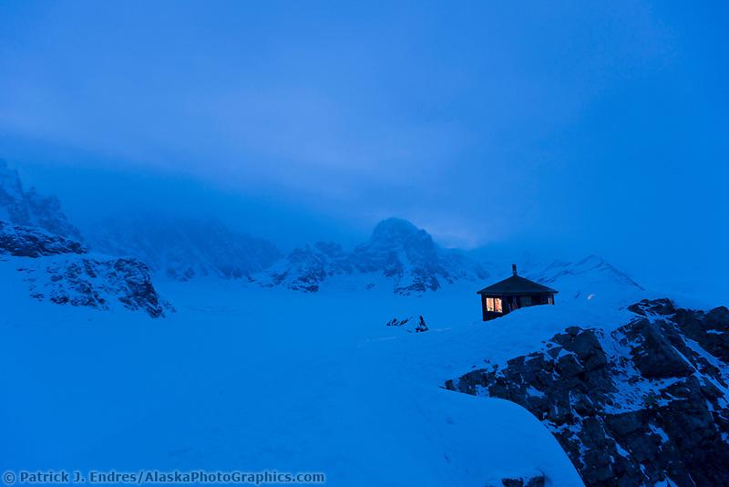 Don Sheldon Mountain house in the blue evening light.