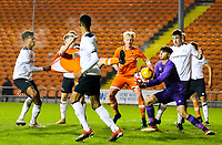Blackpool's Will Avon has his shirt pulled in the area by Derby County's Archie Brown<br /> <br /> Photographer Alex Dodd/CameraSport<br /> <br /> The FA Youth Cup Third Round - Blackpool U18 v Derby County U18 - Tuesday 4th December 2018 - Bloomfield Road - Blackpool<br />  <br /> World Copyright &copy; 2018 CameraSport. All rights reserved. 43 Linden Ave. Countesthorpe. Leicester. England. LE8 5PG - Tel: +44 (0) 116 277 4147 - admin@camerasport.com - www.camerasport.com