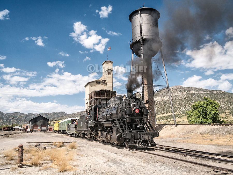 Water tower and No. 93 In the yards of the Nevada Northern Railway, East Ely, Nev.