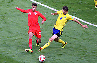 SAMARA - RUSIA, 07-07-2018: Albin EKDAL (Der) jugador de Suecia disputa el balón con Dele ALLI (Izq) jugador de Inglaterra durante partido de cuartos de final por la Copa Mundial de la FIFA Rusia 2018 jugado en el estadio Samara Arena en Samara, Rusia. / Albin EKDAL (R) player of Sweden fights the ball with Dele ALLI (L) player of England during match of quarter final for the FIFA World Cup Russia 2018 played at Samara Arena stadium in Samara, Russia. Photo: VizzorImage / Julian Medina / Cont