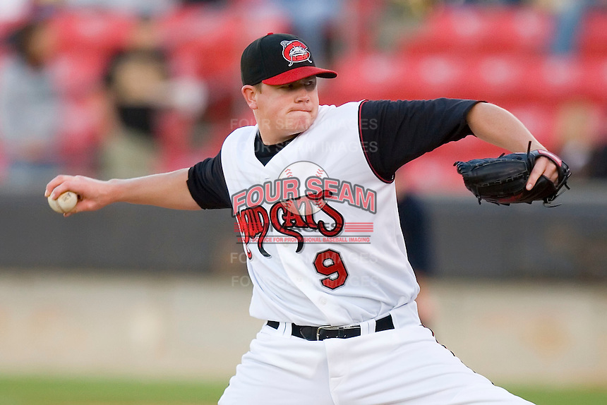 Starting pitcher Jordan Smith #9 of the Carolina Mudcats in action versus the Jacksonville Suns at Five County Stadium May 19, 2009 in Zebulon, North Carolina. (Photo by Brian Westerholt / Four Seam Images)
