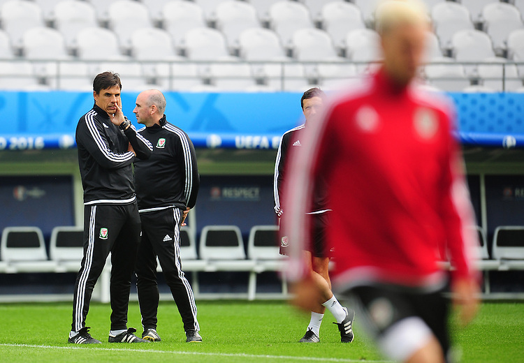 Wales's Manager Chris Coleman watches on during todays training session<br /> <br /> Photographer Kevin Barnes/CameraSport<br /> <br /> International Football - 2016 UEFA European Championship - Training Session - Group B - England v Wales - Wednesday, 15th June 2016 - Stade Bollaert-Delelis, Lens Agglo, France<br /> <br /> World Copyright &copy; 2016 CameraSport. All rights reserved. 43 Linden Ave. Countesthorpe. Leicester. England. LE8 5PG - Tel: +44 (0) 116 277 4147 - admin@camerasport.com - www.camerasport.com
