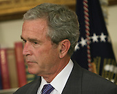 Washington, D.C. - June 19, 2007 -- United States President George W. Bush listens after announcing former US Representative Jim Nussle (Republican of Iowa) as the director of the Office of Management and Budget (OMB), Tuesday, June 19, 2007 at The White House in Washington DC. <br /> Credit: Chris Kleponis - Pool via CNP