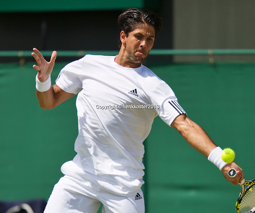 29-06-13, England, London,  AELTC, Wimbledon, Tennis, Wimbledon 2013, Day six, Fernando Verdasco (ESP)<br /> <br /> <br /> <br /> Photo: Henk Koster