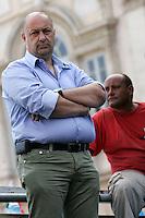 GIOVANNI CENTRELLA SEGRETARIO DELL'UGL..Roma 01/09/2011 Piazza Navona. Manifestazione di CISL, UIL E  UGL per protestare contro la Manovra Finanziaria...Photo Samantha Zucchi Insidefoto