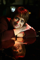 "Patti LuPone, who has long desired to play the role of Mama Rose in ""Gypsy"" on Broadway, will open the revival of the show on Broadway on March 27.  She recently re-visited her Northport roots for Newsday.  She poses at the bar of Skipper's.  34 Main St., Northport.  Newsday/Ari Mintz.  2/16/2008."