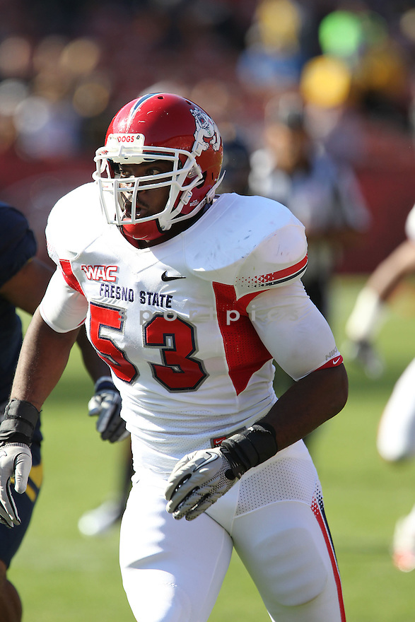 KYLE KNOX, of the Fresno State Bulldogs, in action during Fresno State's  game against the California Golden Bears, on September 03, 2011 Candlestick Park in San Francisco, CA. Cal beat Fresno State 36-21.