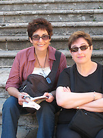 Rhoda & Ingrid in the Piazza del Duomo, San Gimignano.