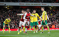 Edward Keddar Nketiah of Arsenal turns to celebrate scoring his equalising goal 1-1 during the Carabao Cup match between Arsenal and Norwich City at the Emirates Stadium, London, England on 24 October 2017. Photo by Carlton Myrie.
