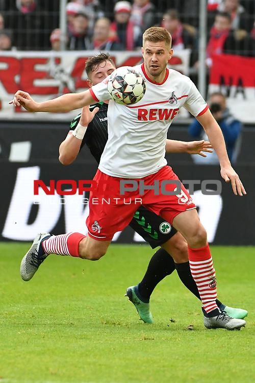 01.12.2018, RheinEnergieStadion, Koeln, GER, 2. FBL, 1.FC Koeln vs. SpVgg Greuther Fürth,<br />  <br /> DFL regulations prohibit any use of photographs as image sequences and/or quasi-video<br /> <br /> im Bild / picture shows: <br /> Simon Terodde (FC Koeln #9), im Zweikampf gegen  Maximilian Wittek (Fuerth #3), <br /> <br /> Foto © nordphoto / Meuter