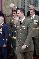 Prince Felipe of Spain attends military audiences.April 9, 2013.(ALTERPHOTOS/Acero)