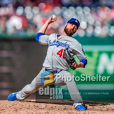 20 May 2018: Los Angeles Dodgers pitcher Josh Fields closes out the game against the Washington Nationals at Nationals Park in Washington, DC. The Dodgers defeated the Nationals 7-2, sweeping their 3-game series. Mandatory Credit: Ed Wolfstein Photo *** RAW (NEF) Image File Available ***