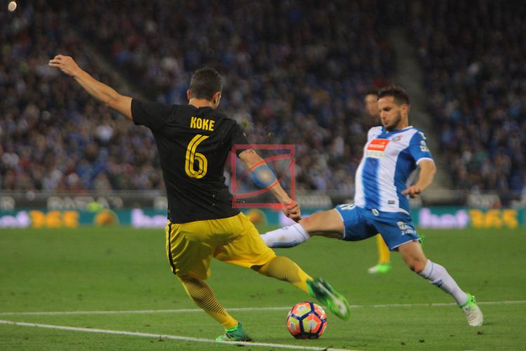 League Santander 2016/2017. Game: 33.<br /> RCD Espanyol vs Atletico de Madrid: 0-1.<br /> Koke vs Piatti.
