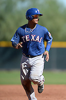 Texas Rangers catcher Marcus Greene Jr (83) during an Instructional League game against the Cincinnati Reds on October 3, 2014 at Surprise Stadium Training Complex in Surprise, Arizona.  (Mike Janes/Four Seam Images)