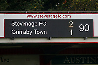 The scoreboard reads 2-1 to Stevange at 90 minutes during Stevenage vs Grimsby Town, Sky Bet EFL League 2 Football at the Lamex Stadium on 12th October 2019
