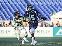 Annapolis, MD - July 7, 2018: Chesapeake Bayhawks Myles Jones (15) is being defended by New York Lizards Kevin McNally (72) during the game between New York Lizards and Chesapeake Bayhawks at Navy-Marine Corps Memorial Stadium in Annapolis, MD.   (Photo by Elliott Brown/Media Images International)