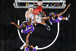 24 MAR 2012:  Drico Hightower (32) and D.J. Rivera (5) of the University of Montevallo defend the basket against Western Washington University during the Division II Men's Basketball Championship held at the Bank of Kentucky Center in Highland Heights, KY. Western Washington won the national title 72-65.  Joe Robbins/NCAA Photos