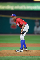 Buffalo Bisons relief pitcher Carlos Ramirez (40) looks in for the sign during a game against the Rochester Red Wings on August 25, 2017 at Frontier Field in Rochester, New York.  Buffalo defeated Rochester 2-1 in eleven innings.  (Mike Janes/Four Seam Images)