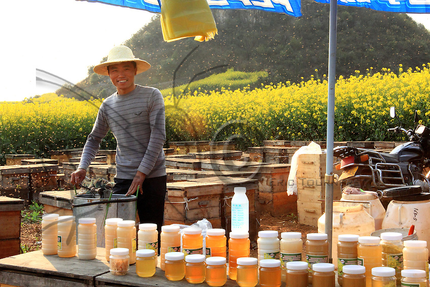 Un jeune apiculteur derrière son étal de vente de miel utilise un extracteur de miel manuel pour récolté.///Luoping, Yunnan. A young beekeeper behind his stand uses a manual honey extractor for harvesting.
