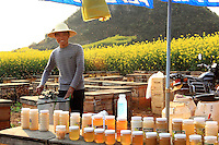 Un jeune apiculteur derrière son étal de vente de miel utilise un extracteur de miel manuel pour récolté.///Luoping, Yunnan. A young beekeeper behind his stand uses a manual honey extractor for harvesting.