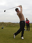 Junior Captain Luke Maguire tees off at the Captain's drive in at Seapoint golf club. Photo:Colin Bell/pressphotos.ie