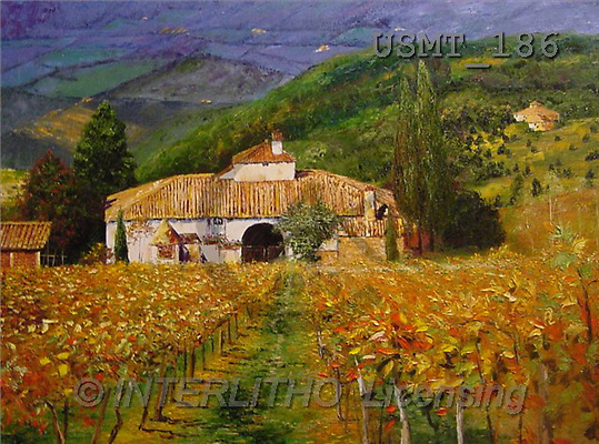Malenda, LANDSCAPES, paintings, tuscano fall(USMT186,#L#) Landschaften, Schiffe, paisajes, barcos, llustrations, pinturas