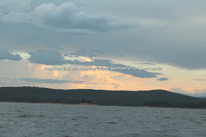 August 22, 2015: Day three brought stormy conditions and cloud cover before the start of the Forrest Wood Cup on Lake Ouachita in Hot Springs, AR. Justin Manning/ESW/CSM