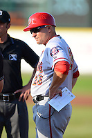 Harrisburg Senators hitting coach Eric Fox #28 talks with the umpires before a game against the Erie Seawolves on July 2, 2013 at Jerry Uht Park in Erie, Pennsylvania.  Erie defeated Harrisburg 2-1.  (Mike Janes/Four Seam Images)