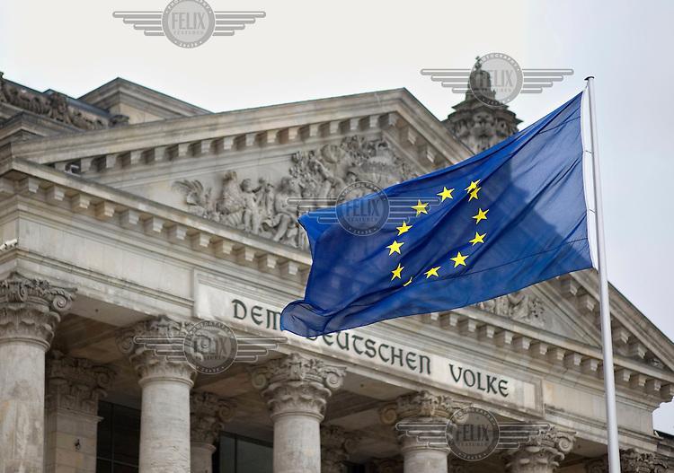 The European Union Flag flies outside the Bundestag.