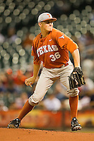 Texas Longhorns starting pitcher Nathan Thornhill #36 in action against the Rice Owls at Minute Maid Park on March 2, 2012 in Houston, Texas.  The Longhorns defeated the Owls 11-8.  (Brian Westerholt/Four Seam Images)