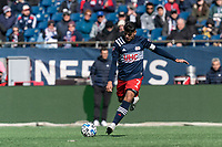 FOXBOROUGH, MA - MARCH 7: Gustavo Bou #7 of New England Revolution passes the ball during a game between Chicago Fire and New England Revolution at Gillette Stadium on March 7, 2020 in Foxborough, Massachusetts.