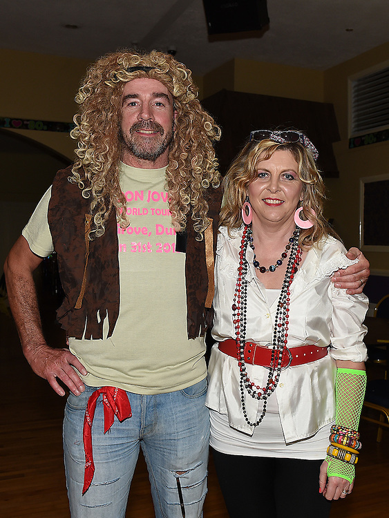 Paddy and Anna-Marie Holdcroft pictured at the 80's night in the Grove House Dunleer to raise funds for the Paul Lannon Fight For Life fund. Photo:Colin Bell/pressphotos.ie