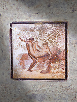 Roman Erotic Fresco from Pompeii depicting  sexual activities,  Naples National Archaeological Museum - 1st cent AD , inv no: 27697