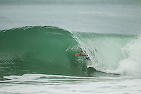 LA GRAVIERE, Hossegor/France (Friday, September 28, 2012) - The opening nine Round 1 heats of the Quiksilver Pro France were completed today in clean three-to-five (1 - 1.5 metre) waves at the primary site of La Graviere...Event No. 7 of 10 on the 2012 ASP World Championship Tour season, the Quiksilver Pro France took advantage of solid barrels on offer this morning before calling competition off this afternoon as the swell subsided..Mick Fanning (AUS), 31, two-time ASP World Champion (2007, 2009) and current ASP WCT No. 1, took down an in-form Wiggolly Dantas (BRA), 22, and Travis Logie (ZAF), 33, in their Round 1 match-up, utilising his extensive tibe-riding abilities.. Photo: joliphotos.com