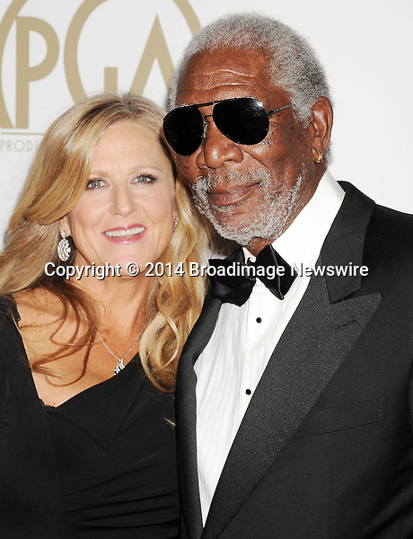 Pictured: Lori McCreary; Morgan Freeman<br /> Mandatory Credit &copy; Joseph Gotfriedy/Broadimage<br /> 25th Annual Producers Guild Awards<br /> <br /> 1/19/14, Beverly Hills, California, United States of America<br /> <br /> Broadimage Newswire<br /> Los Angeles 1+  (310) 301-1027<br /> New York      1+  (646) 827-9134<br /> sales@broadimage.com<br /> http://www.broadimage.com