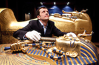NO REPRO FEE. Tutankhamun: His Tomb and Treasures has arrived in Dublin at the RDS Industries Hall. Pictured is Christoph Scholz executive producer putting the finishing touches to the exhibit. 'Tutankhamun - His Tomb and His Treasures' has already delighted over 1,700,000 visitors across Europe and will open on the 17 February at Dublin's RDS in the Industries Hall. The RDS is located on Merrion Road, Ballsbridge, Dublin 4. www.kingtutdublin.ie and www.ticketmaster.ie for further exhibition and ticket information. Picture James Horan/Collins