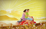 Illustration of couple riding scooter on country road during sunrise