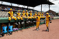 Jacksonville Suns players sit on the dugout before the 20th Annual Rickwood Classic Game against the Birmingham Barons on May 27, 2015 at Rickwood Field in Birmingham, Alabama.  Jacksonville defeated Birmingham by the score of 8-2 at the countries oldest ballpark, Rickwood opened in 1910 and has been most notably the home of the Birmingham Barons of the Southern League and Birmingham Black Barons of the Negro League.  (Mike Janes/Four Seam Images)