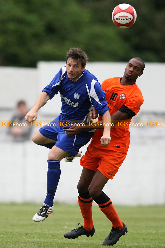 Petri Elbi of Barking and Remi Nelson of Bethnal Green- Barking vs Bethnal Green United - Essex Senior League Football at Mayesbrook Park - 07/08/12 - MANDATORY CREDIT: George Phillipou/TGSPHOTO - Self billing applies where appropriate - 0845 094 6026 - contact@tgsphoto.co.uk - NO UNPAID USE.