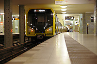 Train in Berlin subway U-Bahn station Alexanderplatz