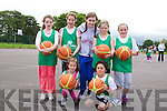 Kirsten Swan, Aoife O'Connor, Shannon Ahern (coach), Aoife O'Connell, Emily O'Brien, Roisin Rahilly and Sam Blits at the Team Kerry Basketball Camp on Tuesday at Mercy Mounthawk.