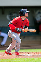 Columbus Clippers Designated Hitter James Ramsey (8) during a game versus the Pawtucket Red Sox at McCoy Stadium in Pawtucket, Rhode Island on May 17,2015.  (Ken Babbitt/Four Seam Images)
